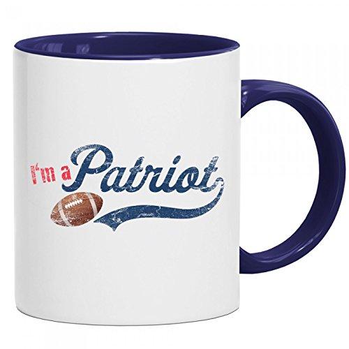 Patriot Tasse | American Football | Superbowl | New England | Kaffeetasse mit Farbe | Keramik-Becher © Shirt Happenz, Farbe:Dunkelblau (Intone);Größe:onesize