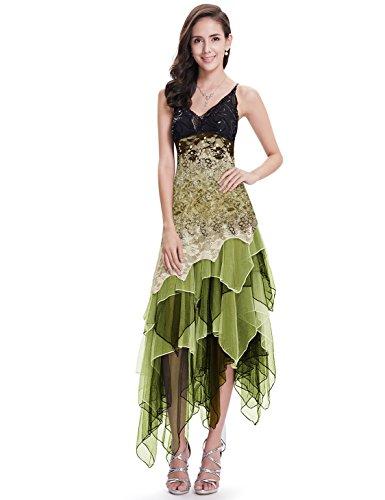 Ever-Pretty Midi Vestito da Ballo Donna Linea ad A Asimmetrico Scollo a V Pizzo Tulle Tracolla Regolabile Senza Maniche Verde 44
