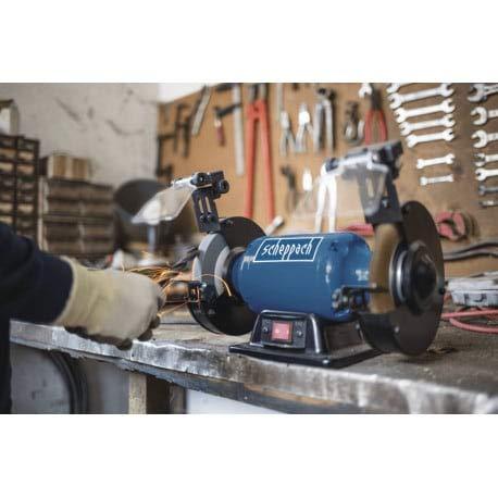 SCHEPPPACH SM150LB Touret à Meuler Mixte avec Meules à Gros Grain, Brosse en Aluminium et Éclairage LED, Puissance 400W, Bleu