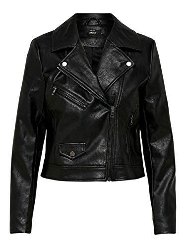 Only Onlenya Faux Leather Biker CC Otw Chaqueta, Negro (Black Black), 42 (Talla del Fabricante: 40) para Mujer