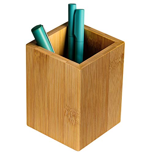MaxGear Premium Pen Holder Pencil Holder for Desk, Wood Pen Cup Pencil Cup Pen cups for Desk Bamboo Pen Holders Pencil Holders Makeup Brush Organizer Case Pen Organizer for Office & Home, Bamboo