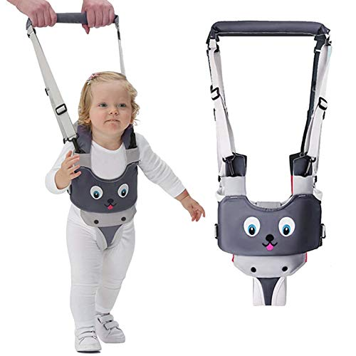 IULONEE Baby-Gehgeschirrgriff Verstellbarer Gehassistent für Kleinkinder Handgehaltenes Stehen und Gehen Lernhilfe Kleinkind-Gehgurt Zügel Kinder-Sicherheitsgeschirr 7-24 Monate (Grau)
