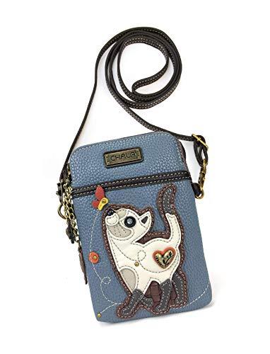 Chala Crossbody Cell Phone Purse-Women PU Leather Multicolor Handbag with Adjustable Strap - Slim Cat Blue