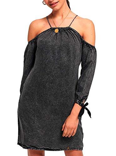 Superdry Eden Cold Shoulder Dress Washed Black (L)