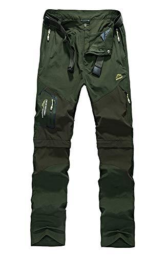 Insun Homme Pantalon de Randonnée Coquille Souple Respirante Convertible Pantalons à Séchage Rapide Casual 2 en 1 Armée Verte 38