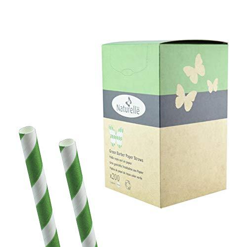 200 Stück - grün/weiß gestreifte Trinkhalme/Strohhalme aus Papier, kompostierbar - Barber Style - Länge: 200mm / Durchmesser: 8mm für Bar, Disko und Cocktails