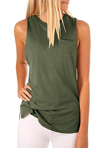 Hount Women's High Neck Tank Tops Summer Sleeveless T Shirts Loose Fit