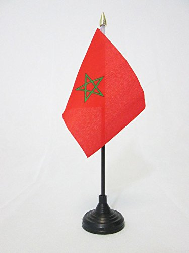AZ FLAG Bandera de Mesa de Marruecos 15x10cm - BANDERINA de DESPACHO MARROQUÍ 10 x 15 cm Punta Dorada