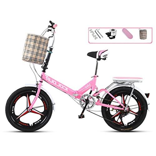 RUZNBAO Bicicleta Plegable Rueda integrada de Bicicleta Plegable de Bicicleta Absorbente de Choque, Freno Delantero v y Freno Trasero, la Altura del Asiento se Puede Ajustar, 7 Pulgadas 7-Velocidad
