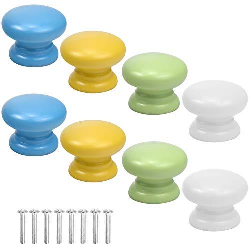 Bunte Möbelknöpfe in Pilzform, Holz, rund, Ziehgriff, für Schrank, Küchenschrank, Küchenmöbel, Kinderzimmer, Weiß, Blau, Gelb, Grün, 8 Stück