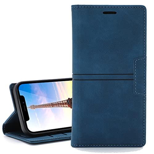 Funda para LG Stylo 6/LG K71, Carcasa para Retro Elegante Magnético Invisible, [Cuero PU Premium] + [TPU Suave] Fundas para LG Stylo 6/LG K71 Funda-Azul