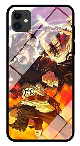 Funda para Teléfono con Cordón Estuche para iPhone con Brillo Nocturno Carcasa de Vidrio Templado con Trébol Negro de Anime 3D Borde Suave Moda Arte Compatible con iPhone 11