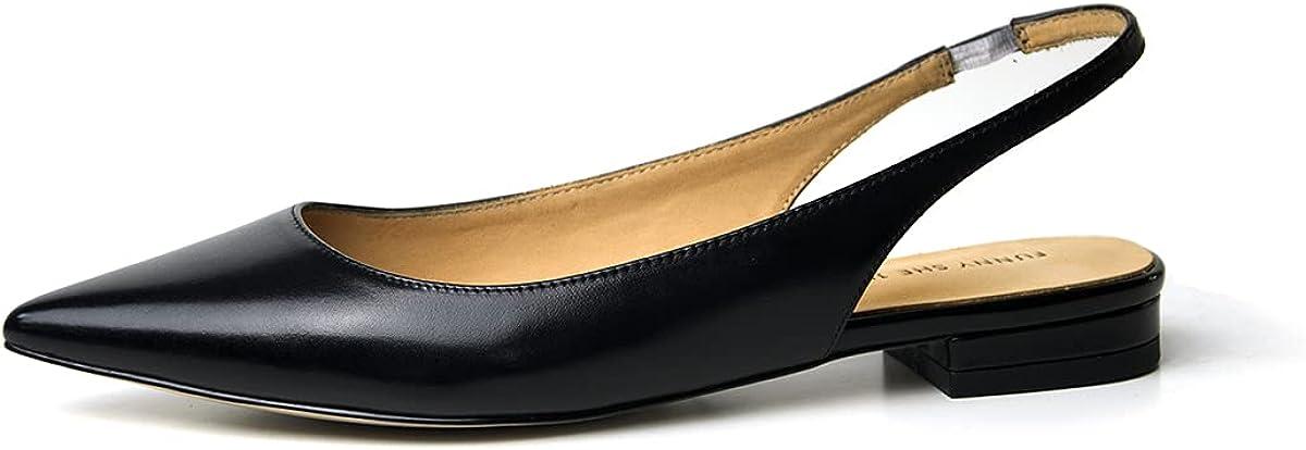 FSJ Pointed Toe Slingback Flats Low Square Heel Slide Sandals Comfortable Slip on Walking Office Shoes