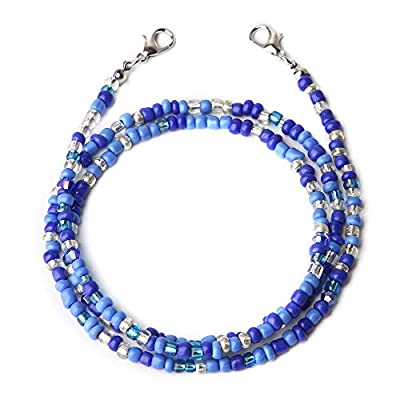 Face Mas-k Holder Beaded Necklace Strap, Face Cover Chains Mouth Cover Beaded Lanyards Eyeglass Chains Beaded Necklace Lanyard for Women Kids (Blue)