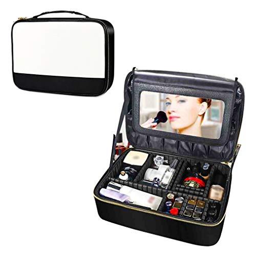 L&M Sac cosmétique Portable, étui à cosmétiques élégant et Minimaliste, Miroir Acrylique Anti-Chute intégré, détachable imperméable et Anti-poussière, Couleur Noir et Blanc