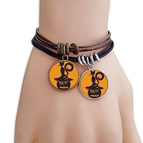 DIYthinker Damen Kürbis-Monster-Hut Katzen-Halloween-Armband Doppel-Leder-Seil-Armband Paar Sets