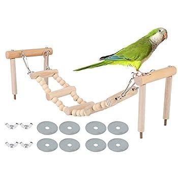 【𝐏â𝐪𝐮𝐞𝐬】 Leftwei Oiseau perchoirs Stand Jouet, Perroquet Swing Escalade échelle Jouets, Bois Naturel Perroquet Jouet Oiseau Escalade échelle balançoire Debout mâcher Jouet Cadeau Cage Fournitures
