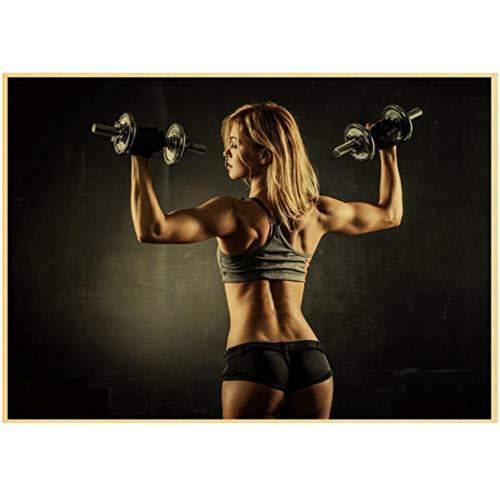 Liuheng HD Bodybuilding Gym Workout Poster Rahmenlose Leinwandmalerei Wohnzimmer Schlafzimmer nach Hause Gym Bar Dekoration Wandkunst Wandbild 40x50cm (15,74x19,68 in)