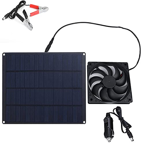 HJGK Panel Solar Portátil De 10 W, Ventilador De Enfriamiento Solar, Módulo Fotovoltaico De Energía Solar Al Aire Libre, Fácil De Conectar A Automóvil/Barco/Motor/Cortacésped/RV/Barco