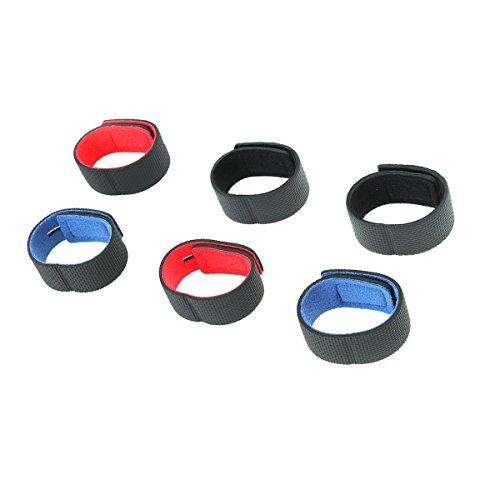 Clispeed 6pcs cinghie di pesca cravatta fascetta nastro adesivo cinghie anti-skid dispositivo di fissaggio canna da pesca apparecchio di fasciatura (2 rosso, 2 blu e 2 nero)
