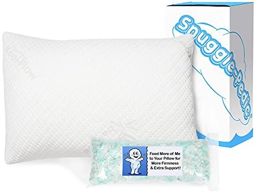 Snuggle-Pedic Memory Foam Pillow - Adjustable Shredded Foam Sleeping Pillows for Side, Back, Stomach...