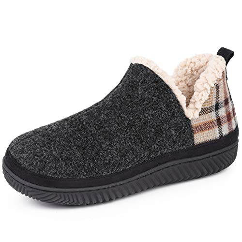 VeraCosy Ladies' Micro Suede Hi-Top Ankle Boot Slippers with Sheepskin Classic Plaid Black, 9 UK