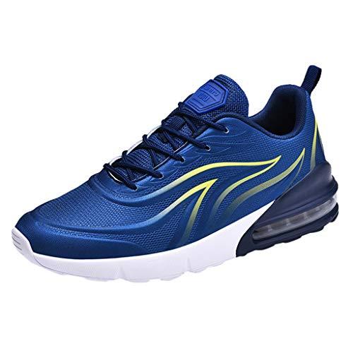 Cebbay Chaussures De Fitness Hommes Courir Course Athlétique Gym Voyage en Plein Air Chaussures De Course Air Coussin Absorption des Loisirs Casual Jogger Sneaker(Bleu,39 EU)