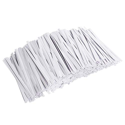 Unves 1000 Pcs White Paper Twist Ties Reusable Bread Ties for Bags Candy Coffee Cello Cake Pops (4 Inches)