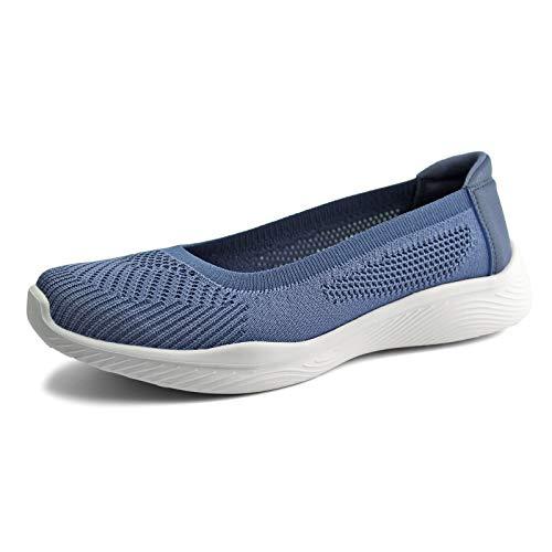 JABASIC Women Slip On Knit Loafers Comfortable Walking Flat Shoes (10,Denim Blue)