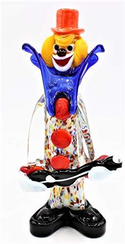 Clown aus Murano-Glas, Höhe 20 cm, hergestellt in Italien, F450, mit Gitarre