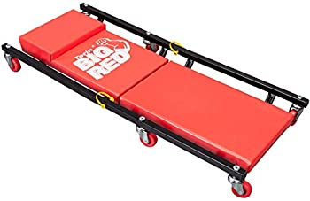 Bigred AR7565B Torin Rolling Garage/Shop Creeper  2-Piece folding 36  Padded Mechanic creeper Cart with Headrest and 6 Casters red