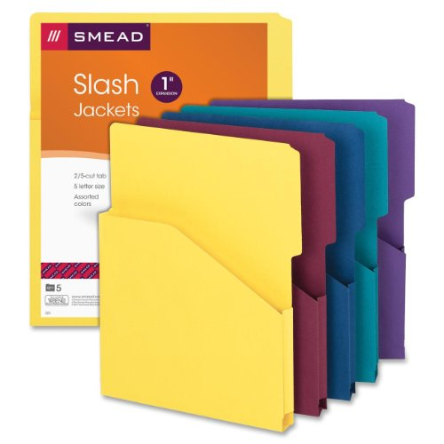 Smead Expanding Slash Jacket, 1 Inch Expansion, Letter Size, Assorted Colors, 5 per Pack (75445)