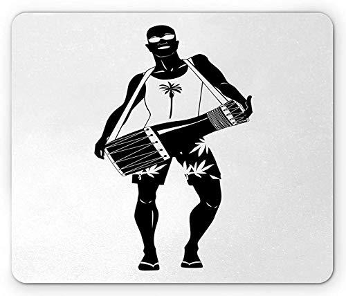 Drums Mouse Pad, Silhouette eines exotischen Mannes in Sonnenbrille und tropischen Shorts, Rechteck, rutschfestes Gummi-Mousepad, Standardgröße, Anthrazit und Weiß