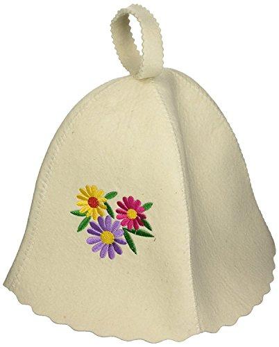 GMMH Filzkappe Saunahut Hut Kappe weiß mit Stikerei Saunamütze für Sauna Filzhut 5177-1127