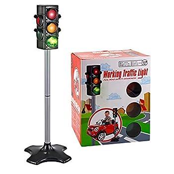 Children Traffic Light Kids Traffic Lamp Toy Stoplight Traffic & Crosswalk Signal with Light & Sound - 4 Sided Over 2 Feet Tall