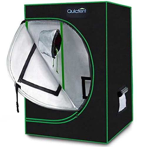 Quictent 24'x24'x36' Mylar Hydroponic Grow Tent with Observation Window and Removable Floor Tray for...