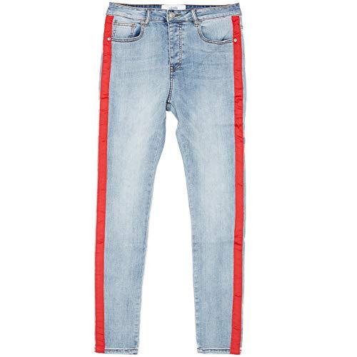 Sixth June Jeans mit Streifen, Blau / Rot Gr. 36 DE/XL, blau