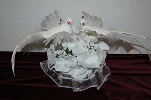 Tauben Paar Echte Federn Hochzeitstauben Tischdeko Hochzeit Braut Deko Weiß TB01 (TB 01 Weiss)