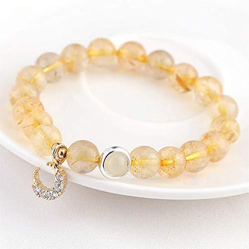 KEEBON Feng Shui Pulsera Lucky Lucky Rutilated Diamond Diamond Moon Bangle Buena Suerte Peach Blossom Amuleto Amuleto Pulsera para Mujer