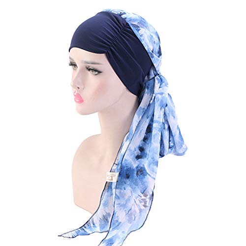 iSpchen Turban de Chimio Femmes Mode Mousseline Coiffe Bohême Vintage Chapeau Chemo Cap Longue Queue Musulman Hijab Headwear Hijab Bonnet Elastique Headwrap