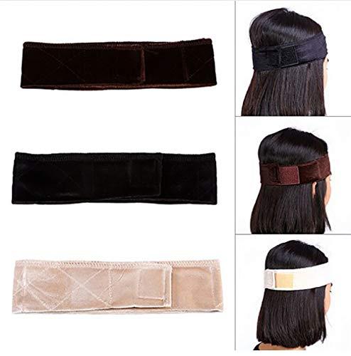 GCOA Samt Perücke Griff Stirnband Wig Grip Headband Verstellbare Perücken Haarverlängerungen, 3 Stück (Braun + Schwarz+ Beige)