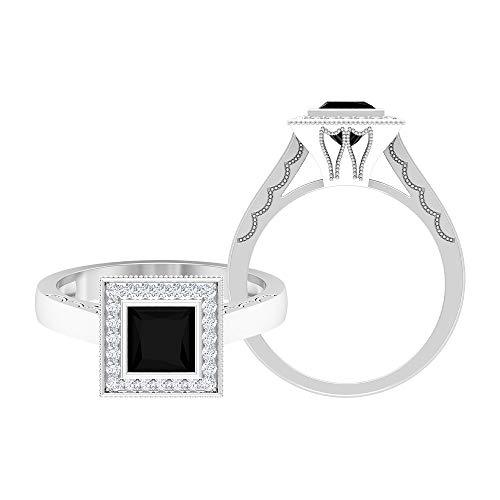 Anillo de ónix negro de 5,5 mm de corte princesa, D-VSSI Moissanite Halo Anillo, anillo de compromiso de oro, anillo solitario con piedras laterales (calidad AAA), 14K Oro blanco, Size:EU 70