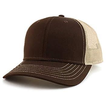 Armycrew Oversize XXL Low Profile Two Tone Mesh Back Trucker Baseball Cap - Brown Khaki - 2XL