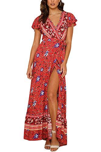 Cindeyar Kleider Boho Sommerkleid V-Ausschnitt Damen Vintage Strand Blumen Maxikleid Kurzarm Strandkleid Lang mit Schlitz(rd,XL)