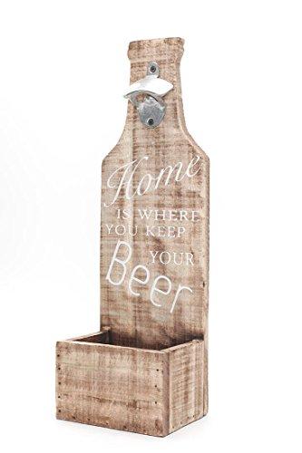 XXL Flaschenöffner für die Wand aus Holz mit Spruch Home is Where You Keep Your Beer 45,5x14,5x10,5cm - Bar Kronkorken-Auffangbehälter Wanddekoration Wandobjekt Shabby Chic