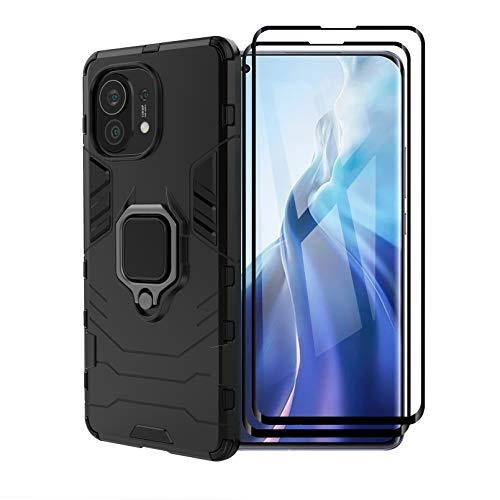 FINEONE Funda para Xiaomi Mi 11, [Robusto] Anillo Metálico Soporte [Funciona con El Montaje De Coche Magnético] Case Carcasa, Negro + 2 Piezas Protector de Pantalla