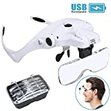 Magnifying Glasses for Close Work, Rechargeable LED Head Magnifier, Hands Free Headband with Light Interchangeable Lenses 1X 1.5X 2X 2.5X 3.5X Jewelry's Loupe Light Bracket Craft Watch Hobby