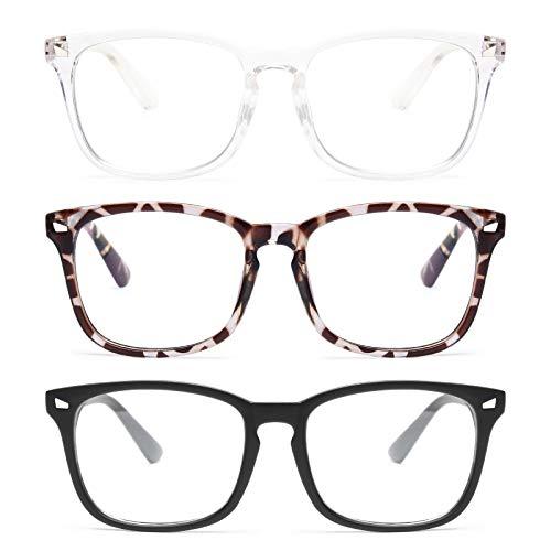 Gaoye 3-Pack Blue Light Blocking Glasses, Fashion Square Fake Nerd Eyewear Anti UV Ray Computer Gaming Eyeglasses Women/Men (Matte Black+Leopard+Transparent)