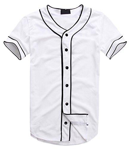 AKP Mens Hipster Hip Hop Button-Down Baseball Jersey Short Sleeve Shirt (L, White 01)