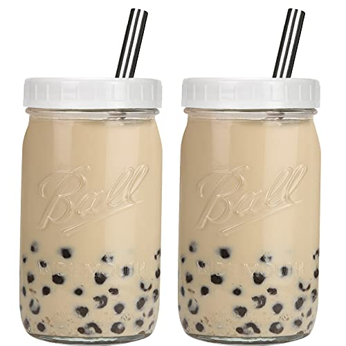 Bedoo Bubble Tea Cups 2 Pack, Reusable Wide Mouth Smoothie Cups, Iced Coffee Cups With White Lids and Silver Straws Ball Mason Jars Glass Cups, Travel Glass Drinking Bottle (32oz, Silver Straws)